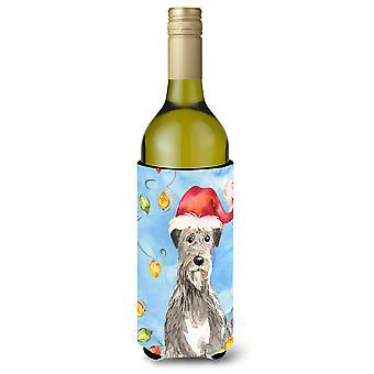 أضواء عيد الميلاد Wolfhound الأيرلندية زجاجة النبيذ المشروبات عازل نعالها