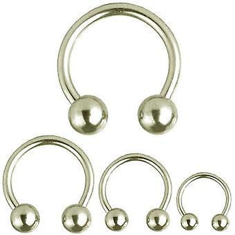 Cirkulär Barbell hästsko Piercing, piercingsmycken, tjocklek 5,0 mm | Diameter 10-22 mm