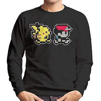 Pikachu och tränare Ash 8 bit Pixel karaktär Pokemon pärla Mäns tröja