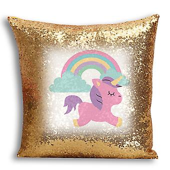 i-Tronixs - Unicorn Printed Design Gold Sequin Cushion / Pillow Cover for Home Decor - 4