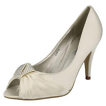 Ladies Anne Michelle Peep Toe Heel With Diamante Knot Detail L2214
