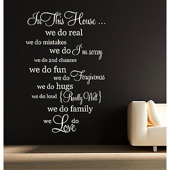 W tym domu rodzinnego zasady ścienne naklejki
