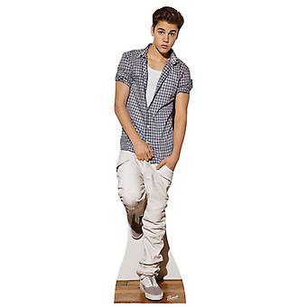 Justin Bieber iført sjekk skjorte Lifesize papp åpning / Standee
