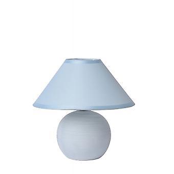 Lucide Faro retrò tondo ceramica lampada da tavolo blu