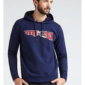 GUESS Navy Ripped Logo Hoodie