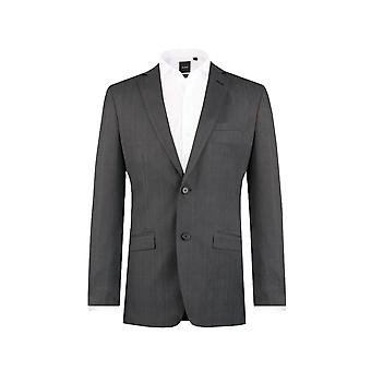 Dobell Mens Charcoal Prince of Wales Check Suit Jacket Slim Fit Notch Lapel