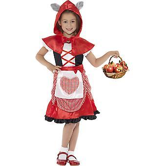 Miss Hood Kostüm Rot mit Kleid und  Kapuzenumhang mit angesetzten Wolfsohren