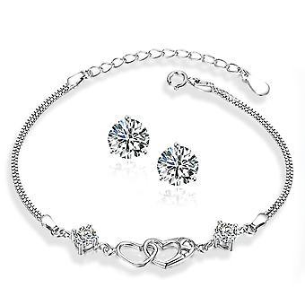 925 sterling silver solid dubbel hjärta arm band med stenar med fria dubbar