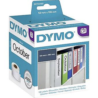 DYMO Label roll 99019 S0722480 59 x 190 mm Paper White 110 pc(s) Permanent Lever arch file labels