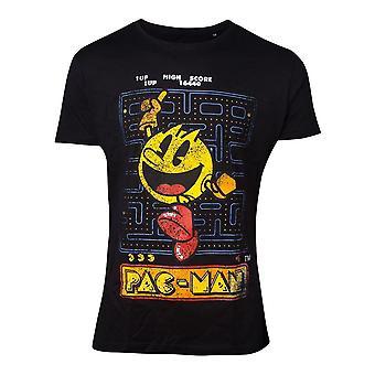 パックマンメンズTシャツレトロゲームルックコットン男性の男性の黒XX-ラージTS030400PAC-2XL
