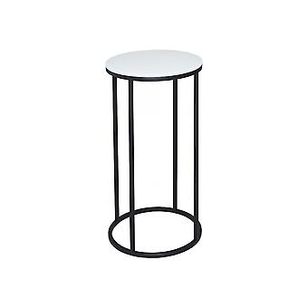 Gillmore White Glass And Black Metal Contemporary Circular Lamp Table