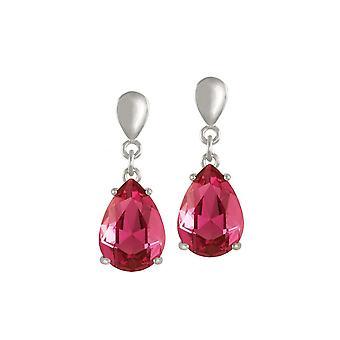 Eternal Collection Seduction Teardrop Deep Rose Pink Crystal Silver Tone Drop Clip On Earrings