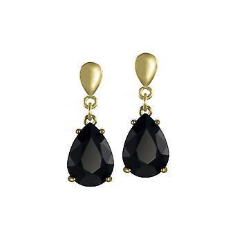 Eternal Collection Seduction Teardrop Jet Black Crystal Gold Tone Drop Clip On Earrings