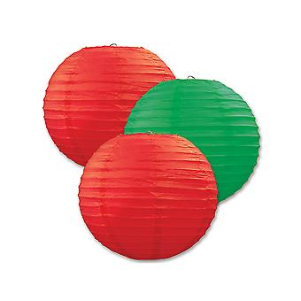 Paper Lanterns (Pack Of 3) - Red & Green