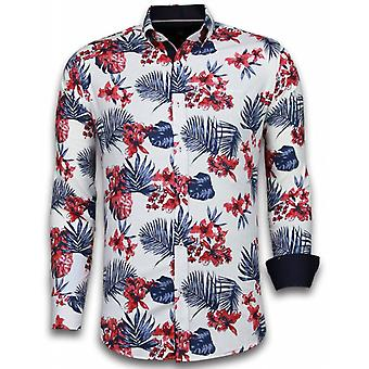 E Shirts - Slim Fit - Big Flower Pattern - White