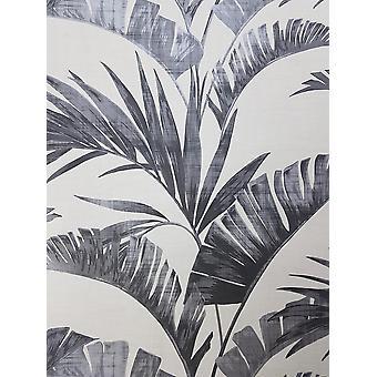 Banan Palma liść tapeta węgiel drzewny od biały szary Metaliczny Pasta ściana Arthouse