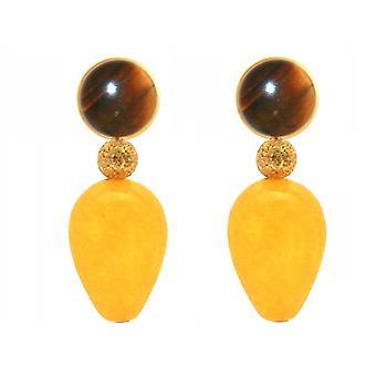 Gemshine örhängen Tiger öga och gul Jade ädelsten droppar-Precious guldpläterad