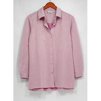 Joan Rivers Classics Coll. Top micro French Terry knop front roze A295910
