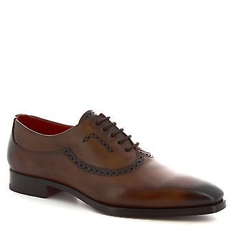 Leonardo schoenen mannen ' s handgemaakte halve derby's Lace-ups schoenen Brandy kalf leder