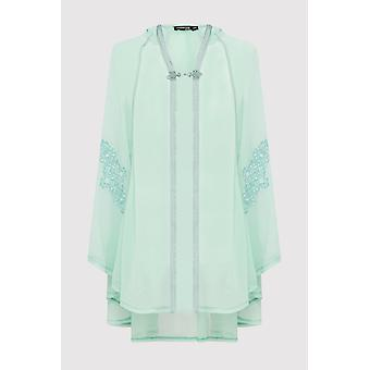 Razal hooded girl's embroidered lightweight hooded single fasten cape in mint green (2-12yrs)