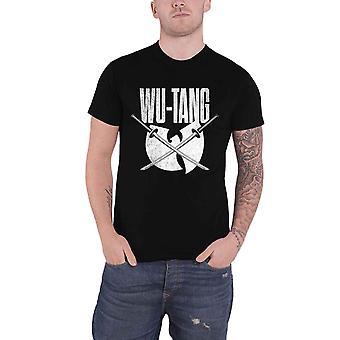 Wu tang Clan T Shirt Katana distressed logo new Official Mens Black