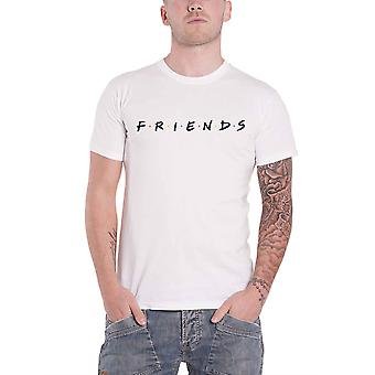 Friends T Shirt classic Logo TV Show new Official Mens White Roll Sleeve
