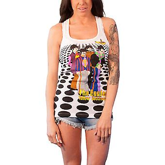 The Beatles Vest Sea of Holes Official Womens New White Skinny Fit Top