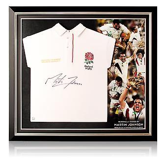 Martin Johnson signiert England Rugby Shirt. Premium-Rahmen