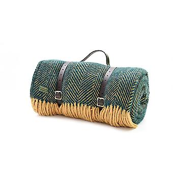 Tweedmill Polo Picnic Rug With Waterproof Backing & Leather Straps - Emerald/Mustard