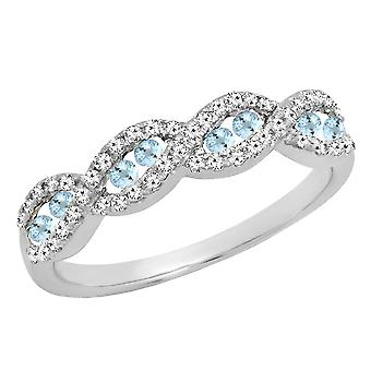 Dazzlingrock Collection 14K Round Aquamarine & White Diamond Ladies Anniversary Wedding Band, White Gold