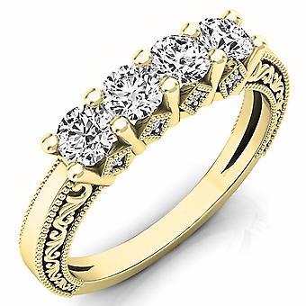 Dazzlingrock Collection 0,75 Carat (CTW) 14K rund hvid diamant damer bryllup band Ring 3/4 CT, gul guld