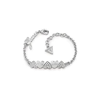 Guess Jewellery Guess Rhodium Plated Bracelet Pave Plain Heart Bow UBB85101-L
