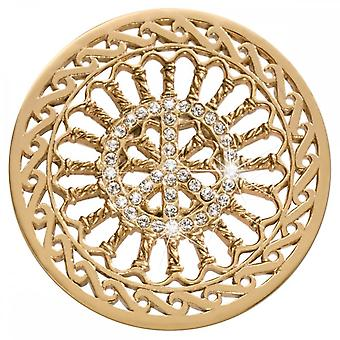 Nikki Lissoni Crystal Peace Large Gold Plated Coin C1492GL