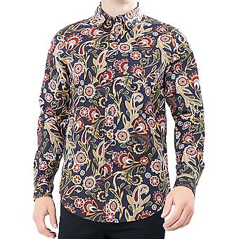 Brave Soul Mens Oregon Smart Long Sleeve Floral Button Down Shirt - Navy/Multi