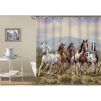 Rideau de douche de chevaux sauvages