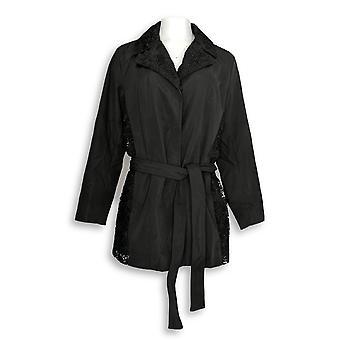 Dennis Basso kvinner ' s vannbestandig blonder trim jakke svart A289814
