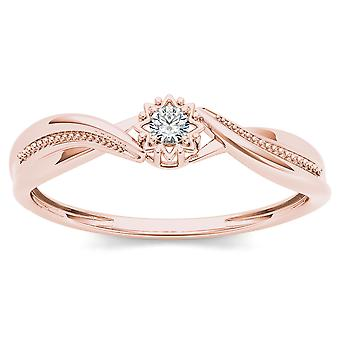IGI Certified 10k ROSE Gold 0.05 Ct Natural Diamond Engagement Fashion Ring