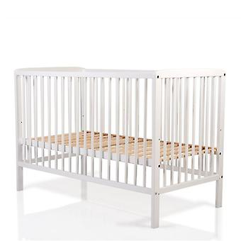 Cangaroo baby cot wooden beech white, 3 height positions, 3 rods removable