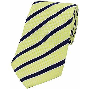 David van Hagen gestreepte polyester stropdas-blauw/citroen geel