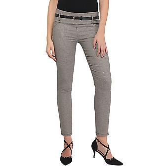 KRISP Womens Dogtooth Print Trousers Stretch Fitted Houds Check Pencil Pants Work Suit