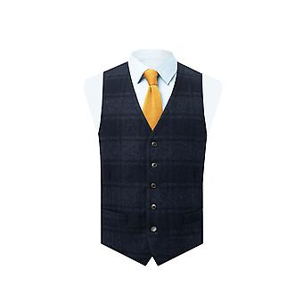 Dobell Mens Blue Tartan Tweed Waistcoat Regular Fit