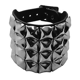 Bullet 69 Black 4 Row Pyramid Studded Leather Wristband