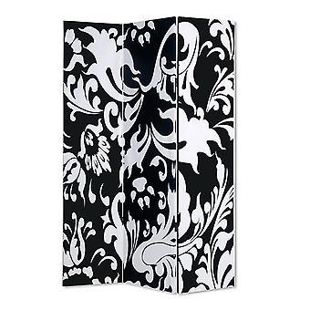 3 separator cameră pliabil Panel cu design filigran, alb-negru