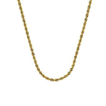 10k Yellow Gold Sparkle Cut Rope Chain Necklace 3mm Lobster Claw Closure Jewelry Gifts for Women - Length: 20 to 30