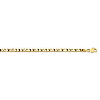 14k 2.85mm Semi solid Curb Link Chain Ankle Bracelet Jewelry Gifts for Women - Length: 7 to 10