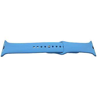 Iwatch rem blå 42mm gummi rostfritt stål spänne
