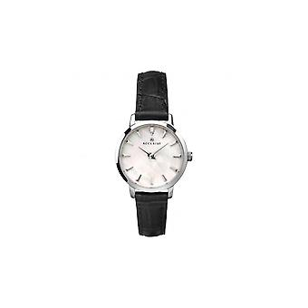 Accurist Ladies Round White Mother Of Pearl Dial Black Strap Watch