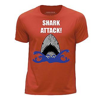 STUFF4 Boy's Round Neck T-Shirt/Shark Attack!/Orange