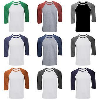Canvas Mens 3/4 Sleeve Baseball T-Shirt