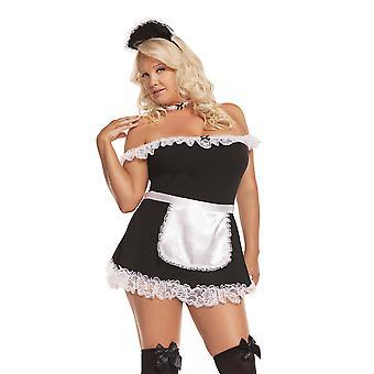 Eleganta moments kvinnors plus storlek franska Maid Halloween kostym
